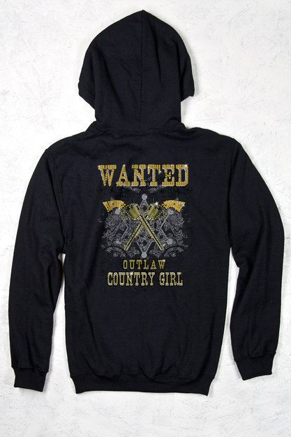 BACK VIEW - Country Girls?äó Wanted W/ Rhinestones Relaxed Pullover Hoodie