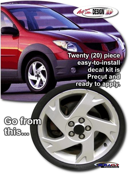 Pontiac Vibe vehicle specific decal kits that are Precut and ready to install.