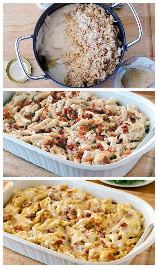 Chicken-Bacon-Ranch Baked Penne | Recipe | Cheese, Bacon and Chicken ...