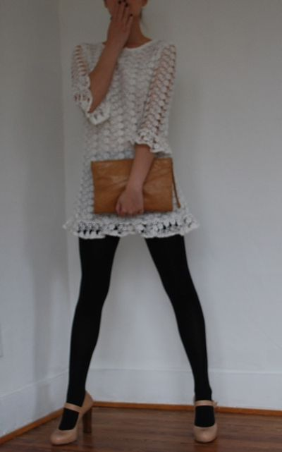 white dress, black tights, camel accessories - we have a winner!