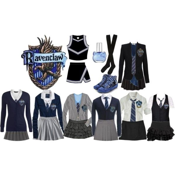 Mischa's RavenClaw Uniforms by expiredsunshine on Polyvore featuring Hansel from Basel, Palazzo Bruciato, Hello Kitty and F