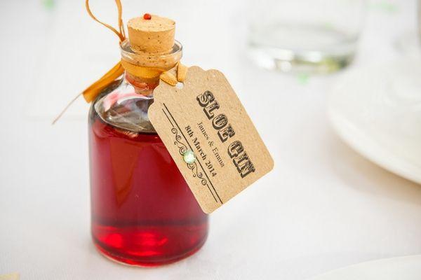 Sloe gin wedding favour
