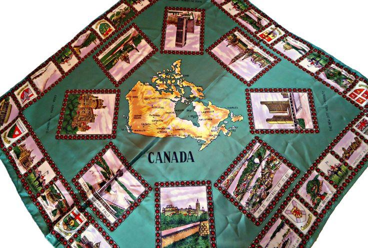 Vintage Scarf Souvenir Scarf Canada   C16 by treasurecoveally on Etsy