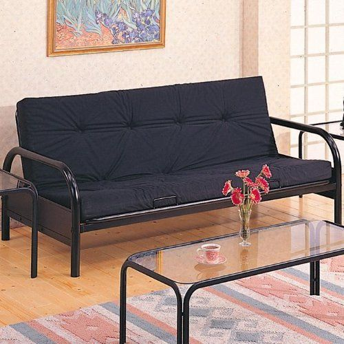 satin black futon frame with round tubing frame and an extra wide and pad sold separately