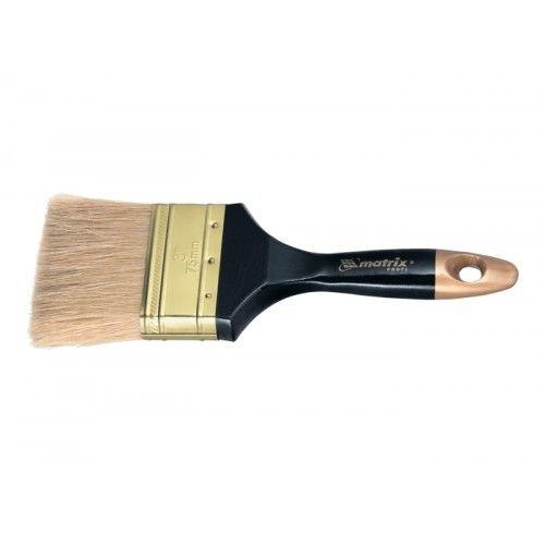 """Кисть плоская """"Профи"""" 1"""", натуральная щетина, деревянная ручка MATRIX"""