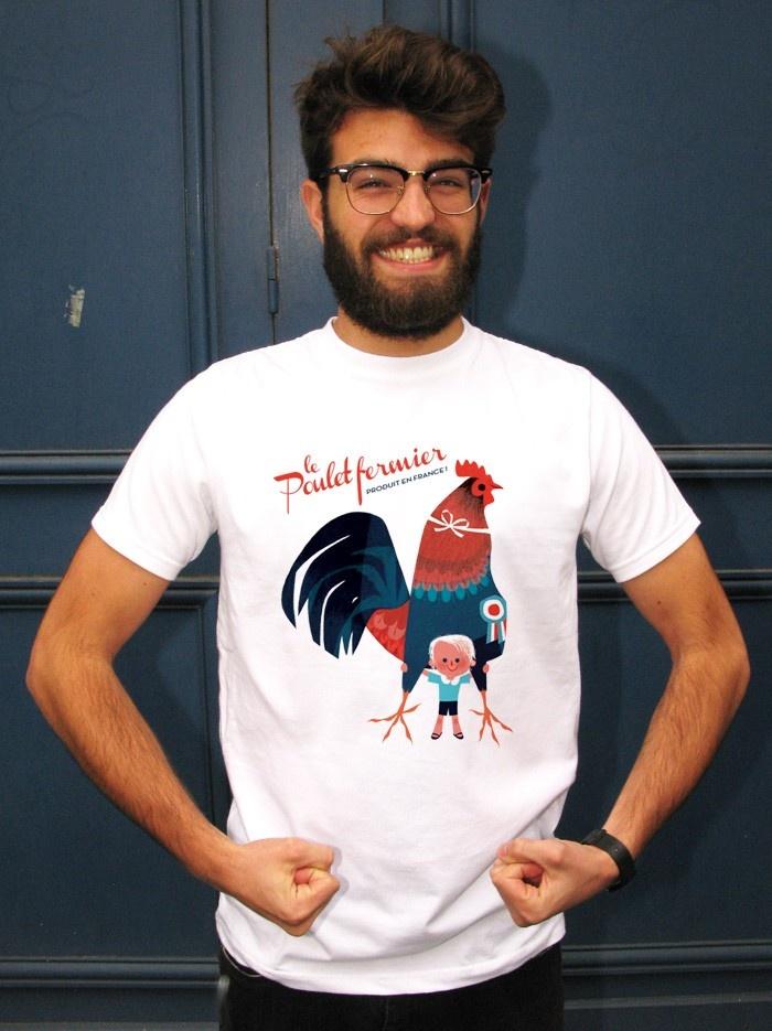 t shirt original homme made in france de annette marnat monsieur poulet tee shirts. Black Bedroom Furniture Sets. Home Design Ideas