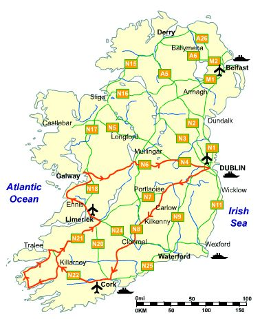 This itinerary is ideal for a 5 day trip to Ireland outside Dublin. It covers just under 1000km (c.600 miles) and aims to show you some of Ireland's scenery, history, heritage and culture.