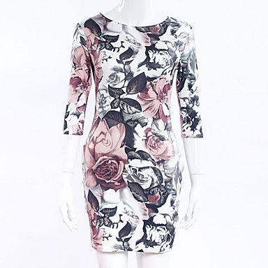 Dámské Sexy Pouzdro Šaty Květinový Kulatý Nad kolena Polyester 4961688 2016 – $12.99