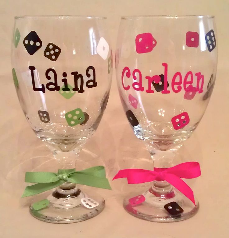 Custom BUNCO WINE GLASSES Goblets with Dice and Name for Bunko Players. $8.00, via Etsy.