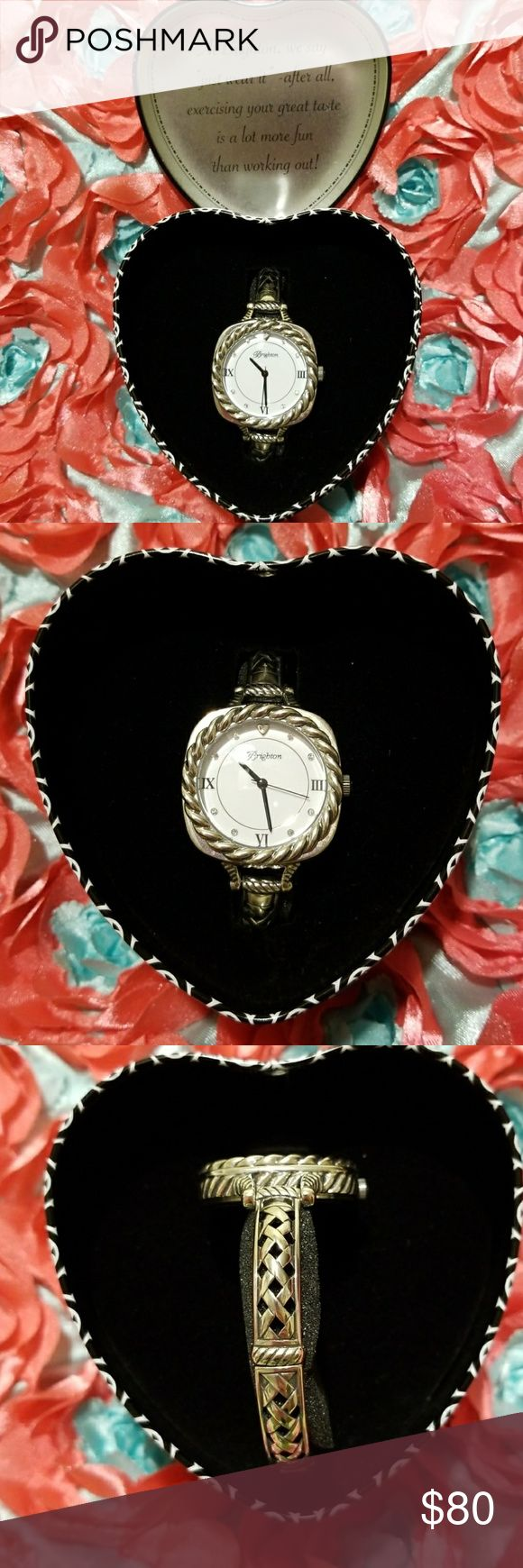 Women's Brighton Como Watch Size: OS Women's Como watch Battery operated  Two size choices when securing the clasp from making the watch feel loose or tight. One owner watch I have not had any problems with this watch and it has kept perfect time. Roman numeral is substituted for #'s 3,6, & 9 A heart shape is substituted for the # 12. Diamomd Crystals are substituted for #'s 1,2,4,5,7,8,10, & 11. I do not believe they are real diamonds but I could be wrong. Original gift box is included…