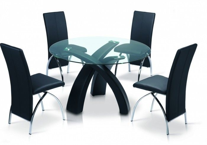 The Marston Dining Set is a round clear glass dining table top and a Black synthetic leather frame. It also comes with four matching chairs finished in synthetic leather and chrome. http://www.furn-on.com/marston-dining-set.html