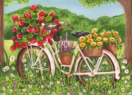Bicycle Planter | ACEO Art Print, An Old Bicycle Planter In The Flower  Garden