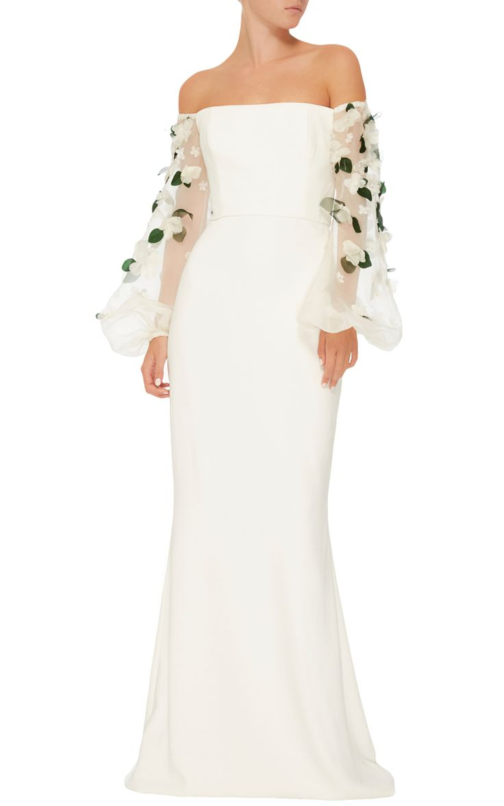 This Elizabeth Kennedy Gown Features An Off The Shoulder Neckline Full Length Fl Embroidered Sleeves And A Column Skirt