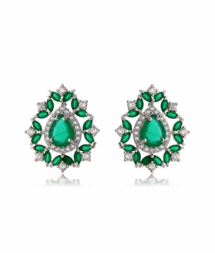 Brinco luxuoso de gota esmeralda com rodio semi joias fashion online
