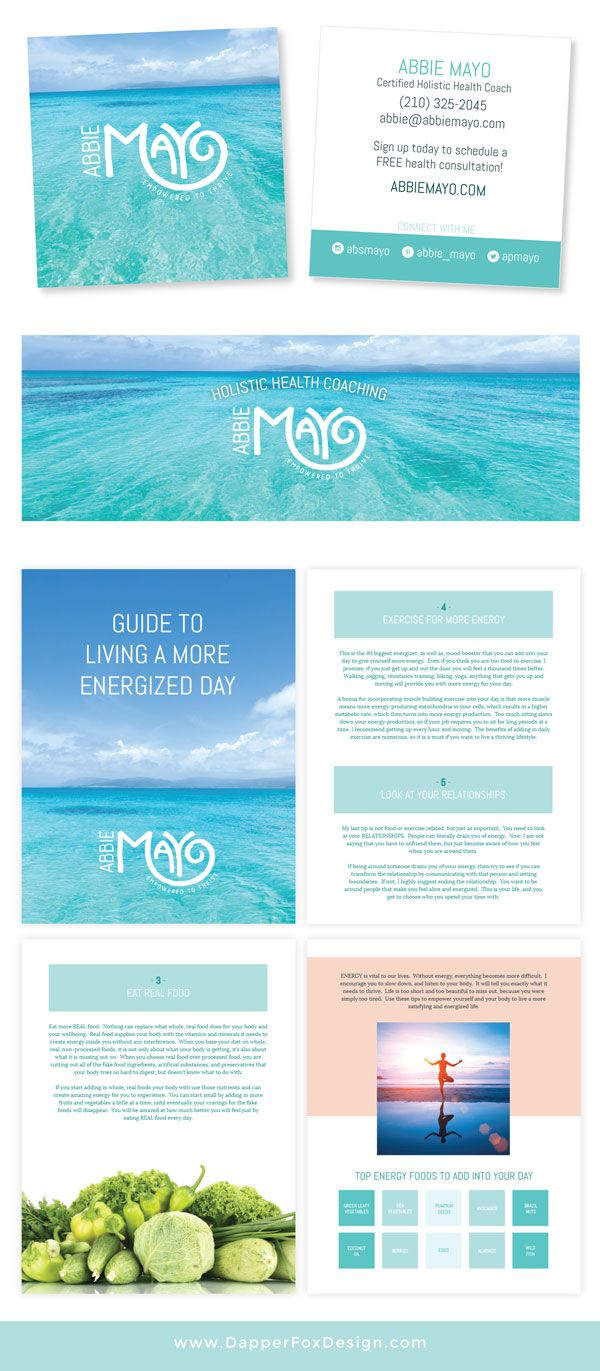 Business Card, Social Media and eBook Design. Health Coach Website Design and Branding by Dapper Fox. Modern, Clean, Ocean, Green, Blue, Pink, Coral Colorful Design. Branding and web design for entrepreneurs and small businesses by Dapper Fox