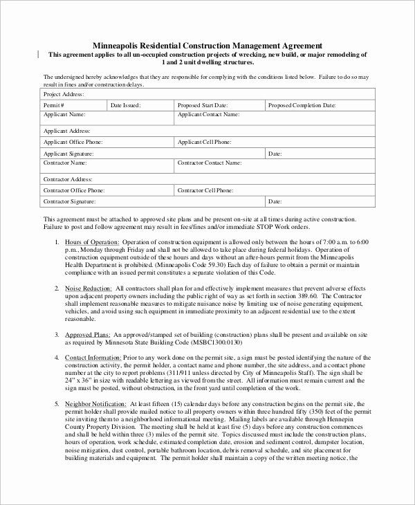 Residential Construction Contract Template New 9 Sample Construction Management Agreements Contract Template Project Management Templates Construction Contract