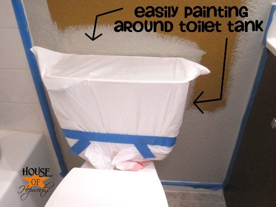 covering the toilet with a garbage sack