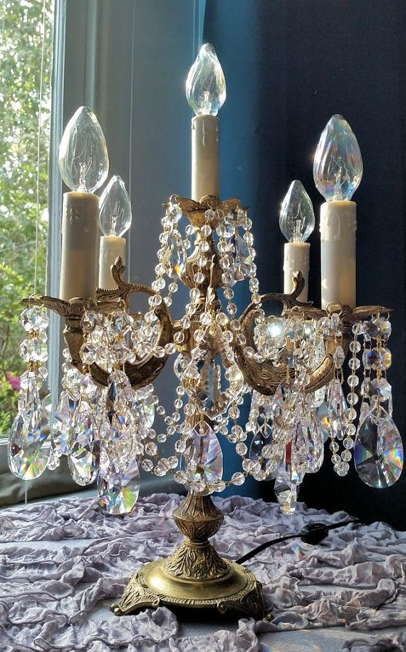 Antique Brass And Crystal Candelabra Antique Table Chandelier
