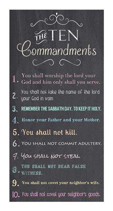 Framed Ten Commandments - Chalkboard Print