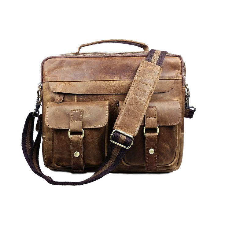 Stoere en robuuste lederen laptop tas voor mannen van 100% echt leer. Met ritssluiting en meerdere opbergvakken en een eigentijdse schouderband.