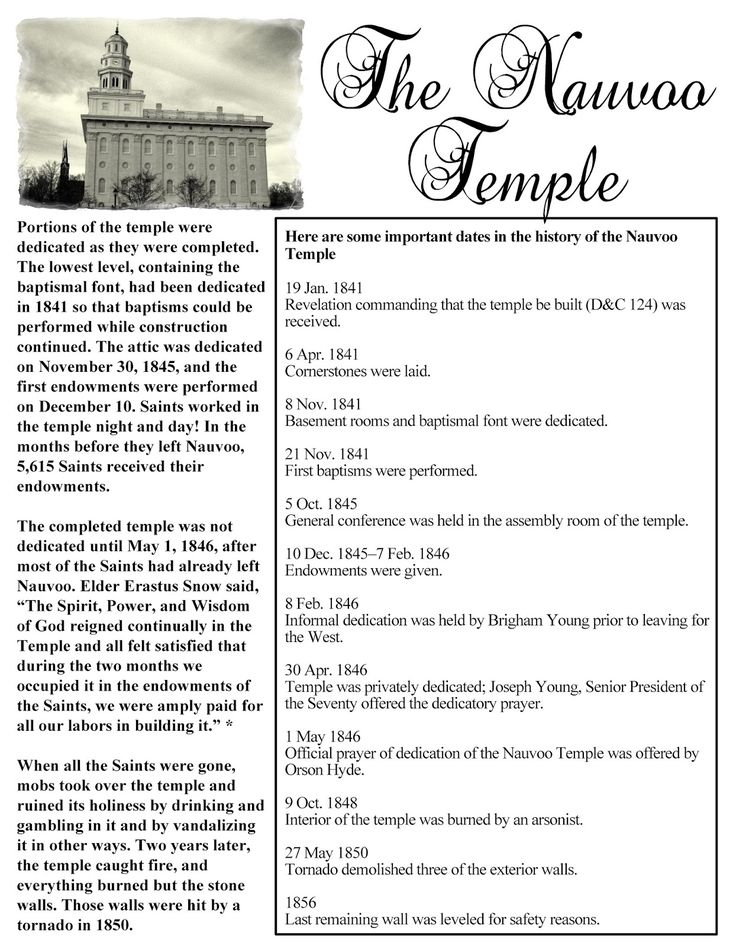 HollysHome - Church Fun: The Nauvoo Temple - Fact Sheet Handout