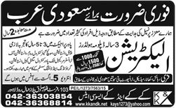 Electrician Jobs Required in Saudi Arabia, Electrician Jobs, Jobs in Saudi Arabia, Electrican Jobs in Saudi Arabia