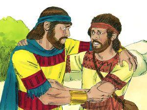 """Se besaron y lloraron juntos, pero David lloró más.  Jonatán dijo a David: """"Ve en paz, porque hemos jurado amistad entre sí en el nombre del Señor.  Dios es testigo entre tú y yo, y entre tu descendencia y mi descendencia para siempre '.  - Slide 23"""