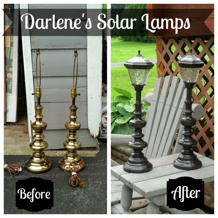 Creative way to turn an old lamp into a solar light for the patio.