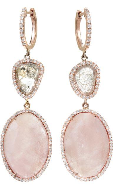 Monique Péan Pink Sapphire & Diamond Slice Earrings