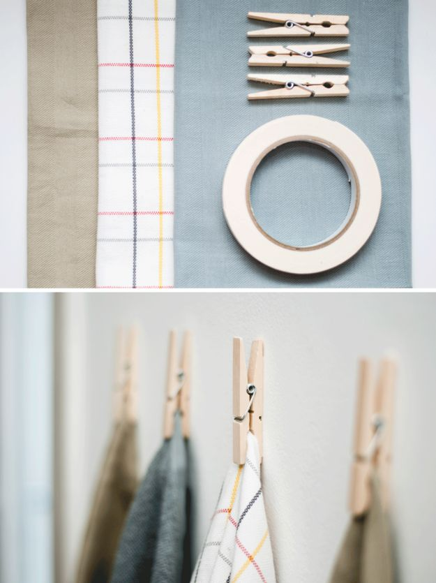 Turn clothespins into cute towel hangers by attaching them to the wall with double-stick tape.