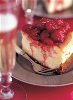 Barefoot Contessa's Raspberry Cheesecake - the only cheesecake recipe I follow.  Many steps, but worth it!  I use frozen cherries in the topping recipe instead of raspberries.