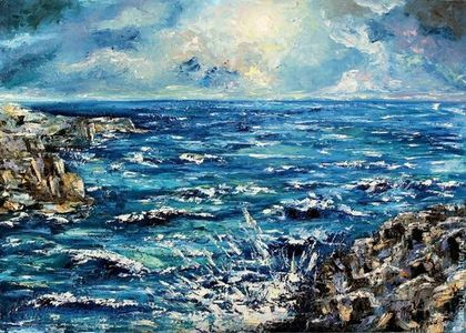 Картина 'Стихия. Вода и Земля' Poems. Water and Earth, sea and the rocks by Victoria Sokolova oil, canvas, 50*70, 2014
