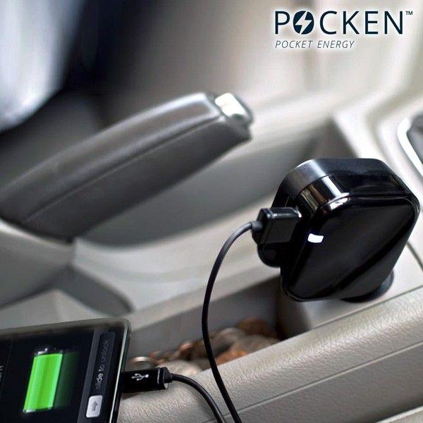 POCKEN Dobbel USB for både strømnett og bil lading. Sort eller hvit farge  | Satelittservice tilbyr bla. HDTV, DVD, hjemmekino, parabol, data, satelittutstyr
