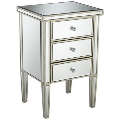 Olivia Antique Silver 3 Drawer Mirrored Accent Table Wharton Courton Pinterest Mirrored