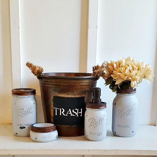 Rustic 5 Piece Mason Jar Bathroom Set.LIGHTBLUE.Rustic Mason Soap Dispenser.Rustic Waste Basket.Mason Flower Vase.Fixer Upper Bathroom Decor by Kksmercantile on Etsy