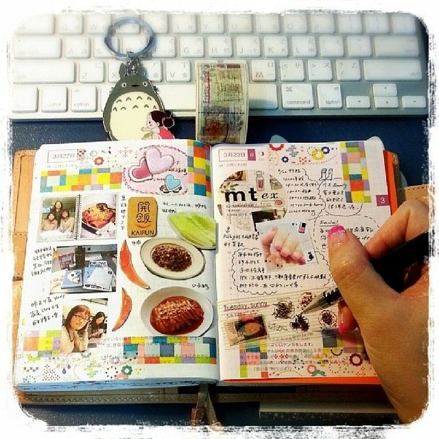 magazine and miscellaneous clippings with doodles in journal or planner