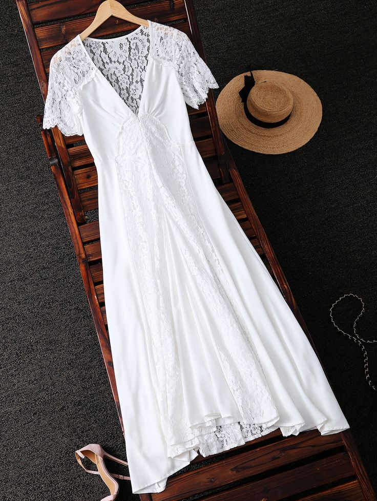 $37.99 Bohemian Lace Spliced Plungng Neck Dress