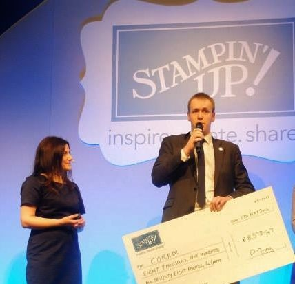 Paula presents Coram with a cheque for the money raised in the fab @cardsforkeeps charity campaign!
