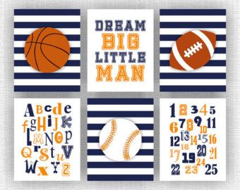 Sports Boy Nursery Wall Art Decor Basketball by myfavoritedecor