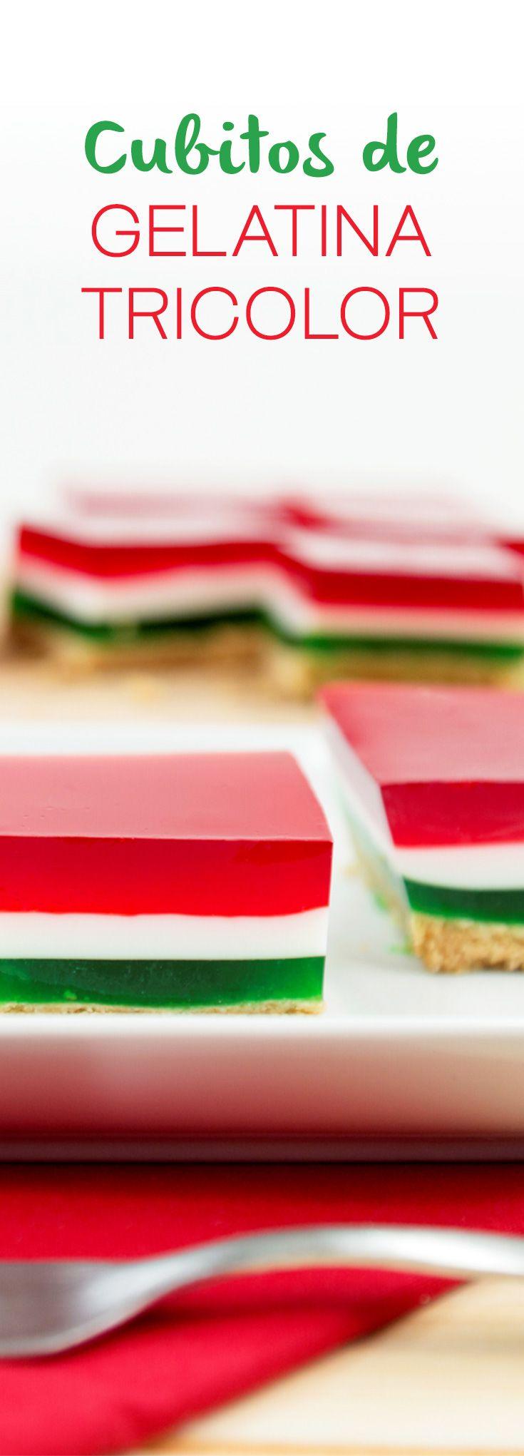 Gelatina de tres colores sobre una costra de galletas de canela con mantequilla. Es ideal para cualquier evento especial o para consentir a tu familia.                                                                                                                                                     Más