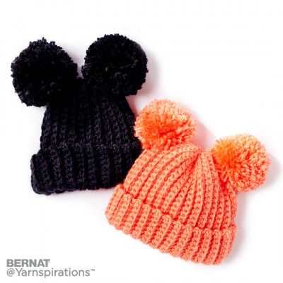 Bernat Adorable Pompom Crochet Hat - Free Easy Hat Crochet Pattern
