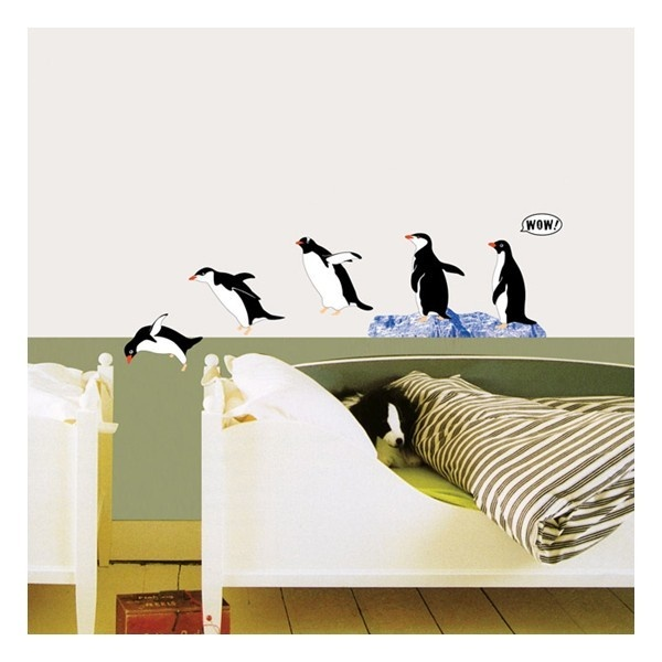 Muursticker met pinguins. Prachtige dieren, en leuk in de kinderkamer.