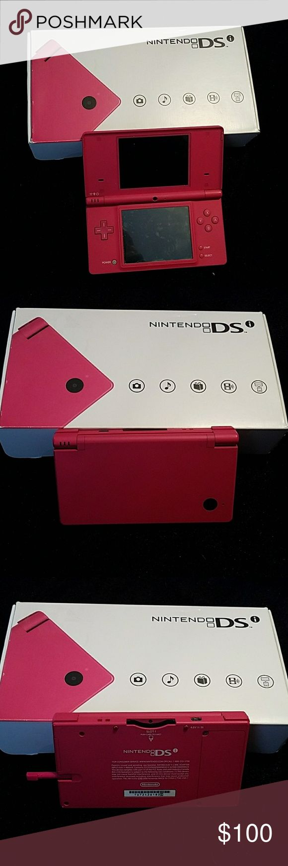 Nintendo DSI Pink Nintendo dsi with stylus. Has screen protectors on both screens. No scratches on screens. Original box included with manuals and charger. Does NOT use game boy advance games! ALSO INCLUDED~( see last two pics) 2 new screen protectors Travel case Cleaning cloth 1 extra pink stylus A stand up charging cradle  Car charger Nintendo Other