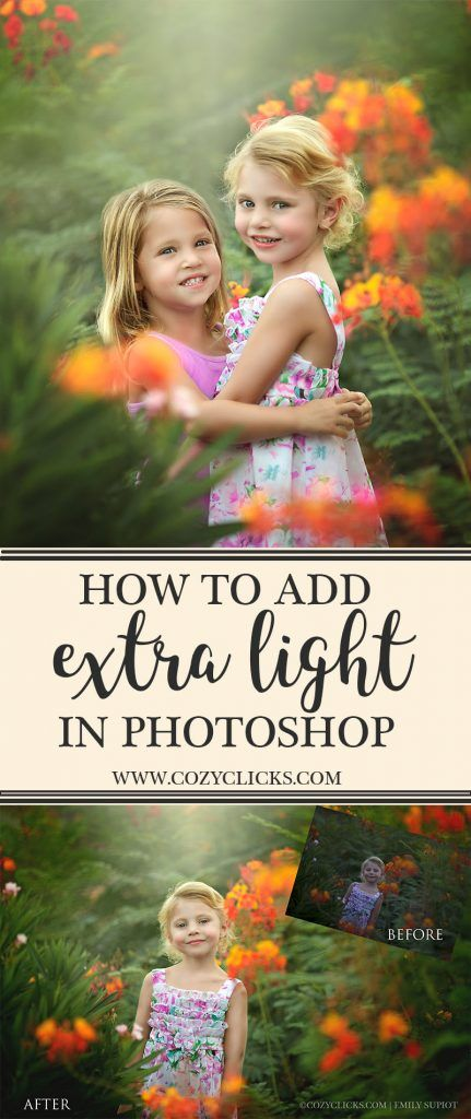 Video tutorial on how to add extra light in to your photos using Photoshop. See it here.                                                                                                                                                                                 More