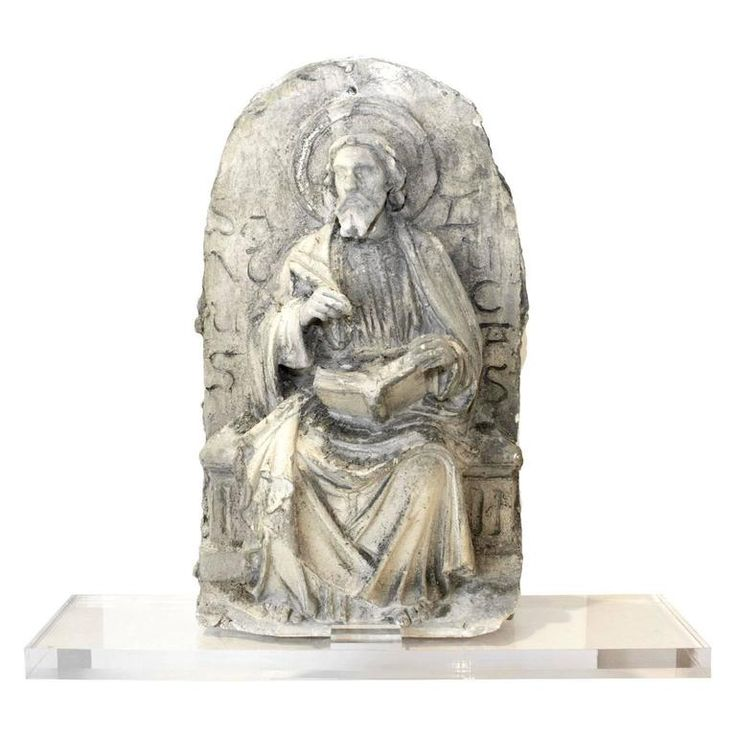 19th C. Belgian Plaster Master Altarpiece of St. Luke the Evangelist on Acrylic | From a unique collection of antique and modern collectibles and curiosities at https://www.1stdibs.com/furniture/more-furniture-collectibles/collectibles-curiosities/