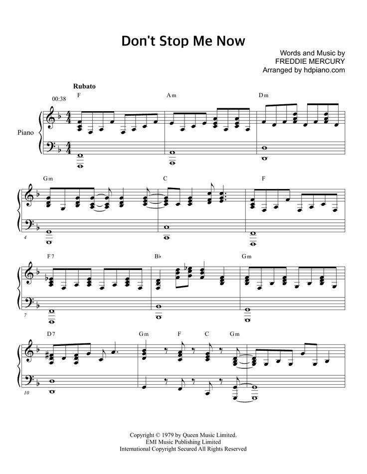Download HDpiano sheet music to Don't Stop Me Now by Queen and print it instantly from Sheet Music Direct.
