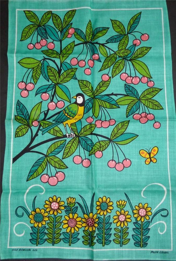 Vintage Pattern ~ tea towel with bird in cherry tree, in green, pink, turquoise, and yellow