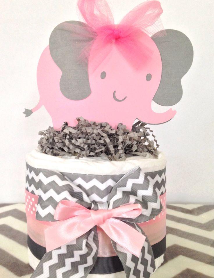 Mini Chevron Elephant Diaper Cake, Elephant Theme Baby Shower Centerpiece, Pink and Gray Chevron Elephant Diaper Cakes by AllDiaperCakes on Etsy