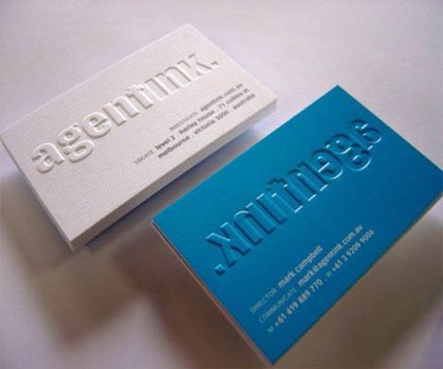 Business cards, emboss