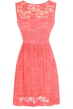 Sleeveless A-Line Lace Overlay Dress in Coral... Molly. What do you think about this for bridesmaids?